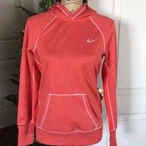 Nike Thermafit fleece hoodie pullover small/orange